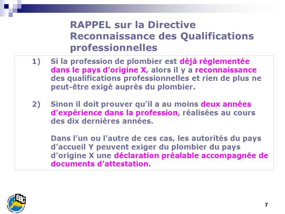 8 Application de la Directive Détachement des Travailleurs pour les salariés.