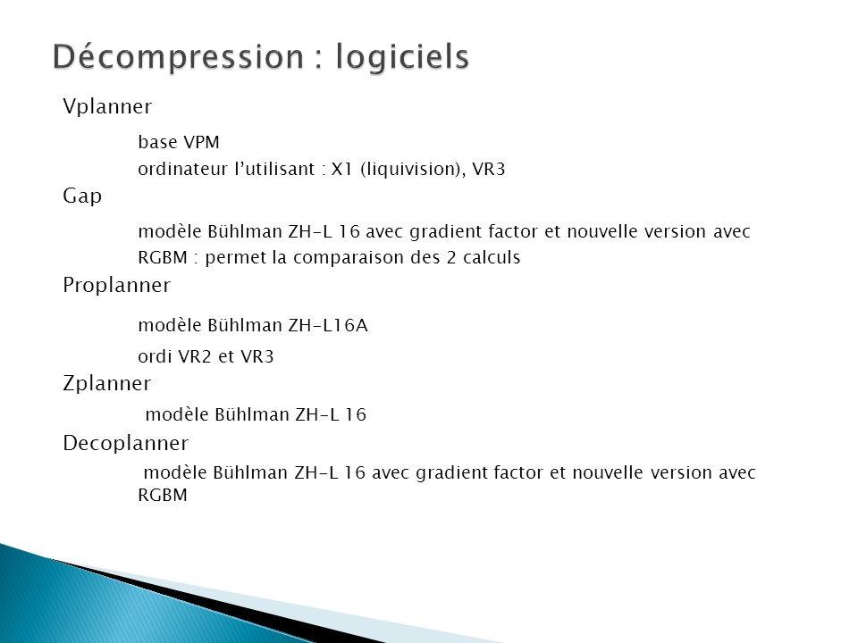 Vplanner base VPM ordinateur lutilisant : X1 (liquivision), VR3 Gap modèle Bühlman ZH-L 16 avec gradient factor et nouvelle version avec RGBM : permet la comparaison des 2 calculs Proplanner modèle Bühlman ZH-L16A ordi VR2 et VR3 Zplanner modèle Bühlman ZH-L 16 Decoplanner modèle Bühlman ZH-L 16 avec gradient factor et nouvelle version avec RGBM