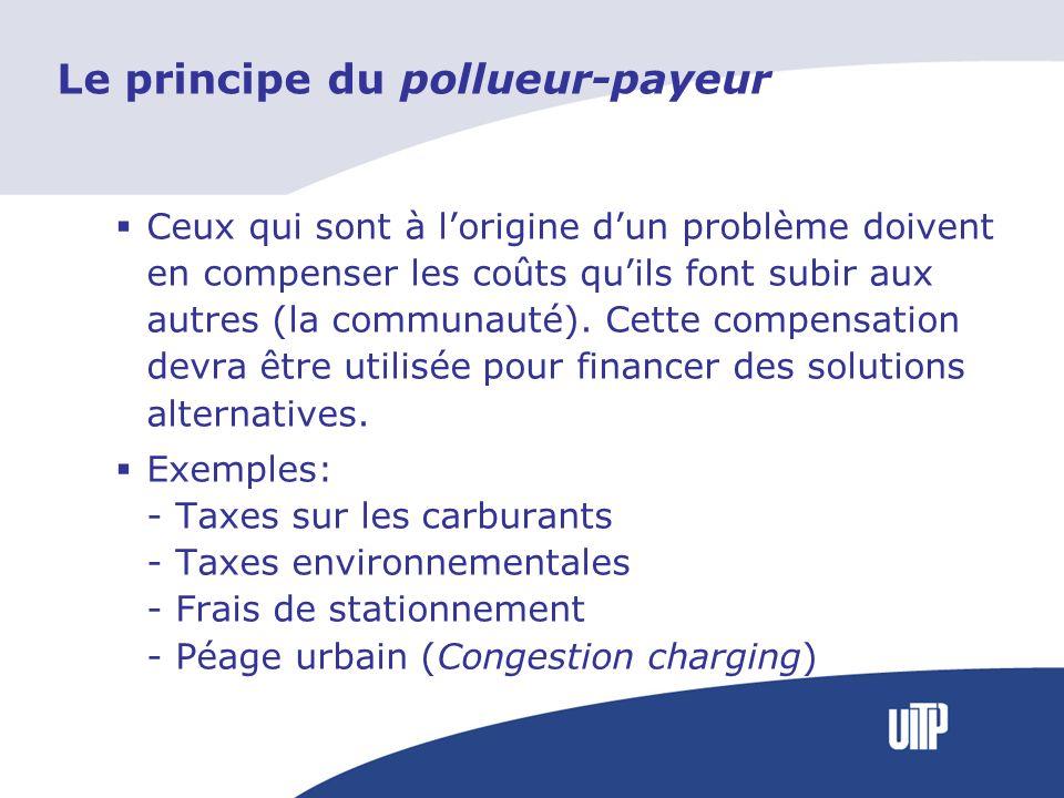Le principe du pollueur-payeur Ceux qui sont à lorigine dun problème doivent en compenser les coûts quils font subir aux autres (la communauté). Cette
