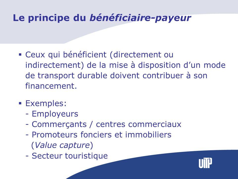 Le principe du bénéficiaire-payeur Ceux qui bénéficient (directement ou indirectement) de la mise à disposition dun mode de transport durable doivent contribuer à son financement.