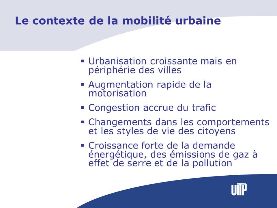 Le contexte de la mobilité urbaine Urbanisation croissante mais en périphérie des villes Augmentation rapide de la motorisation Congestion accrue du trafic Changements dans les comportements et les styles de vie des citoyens Croissance forte de la demande énergétique, des émissions de gaz à effet de serre et de la pollution