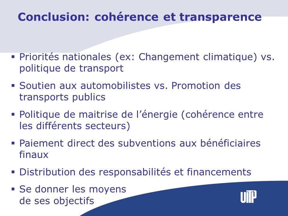 Conclusion: cohérence et transparence Priorités nationales (ex: Changement climatique) vs. politique de transport Soutien aux automobilistes vs. Promo