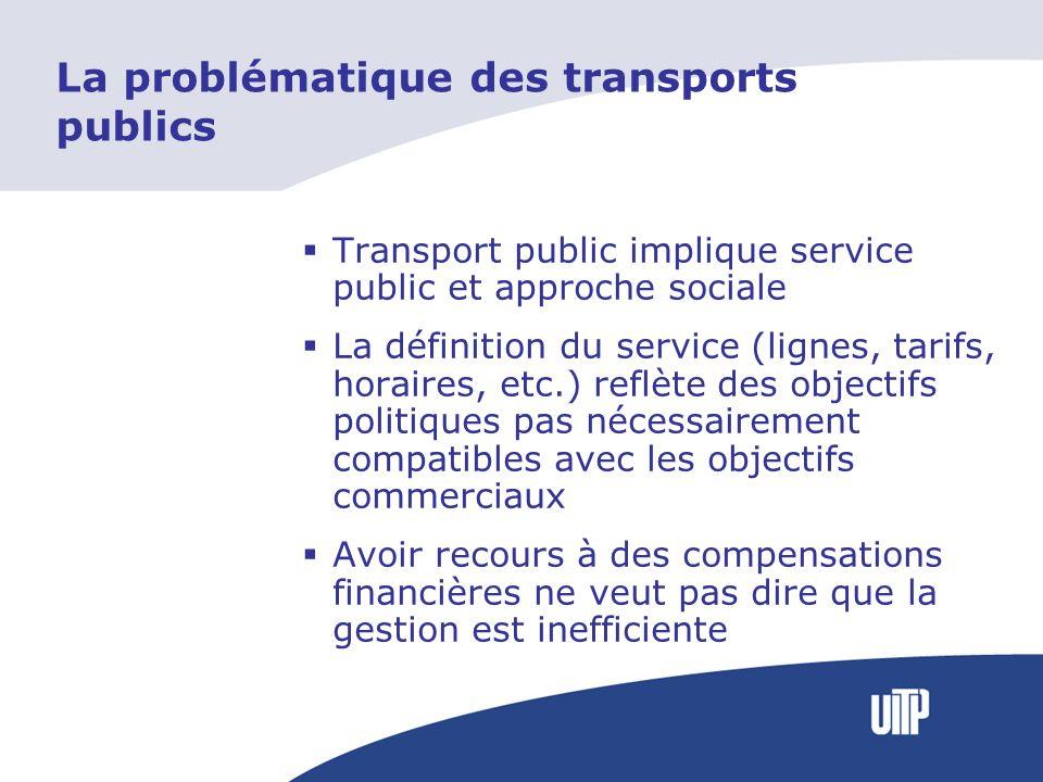 La problématique des transports publics Transport public implique service public et approche sociale La définition du service (lignes, tarifs, horaire