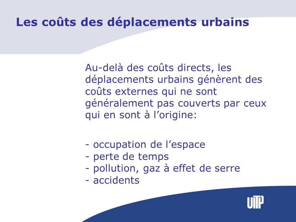 Les coûts des déplacements urbains Au-delà des coûts directs, les déplacements urbains génèrent des coûts externes qui ne sont généralement pas couverts par ceux qui en sont à lorigine: - occupation de lespace - perte de temps - pollution, gaz à effet de serre - accidents