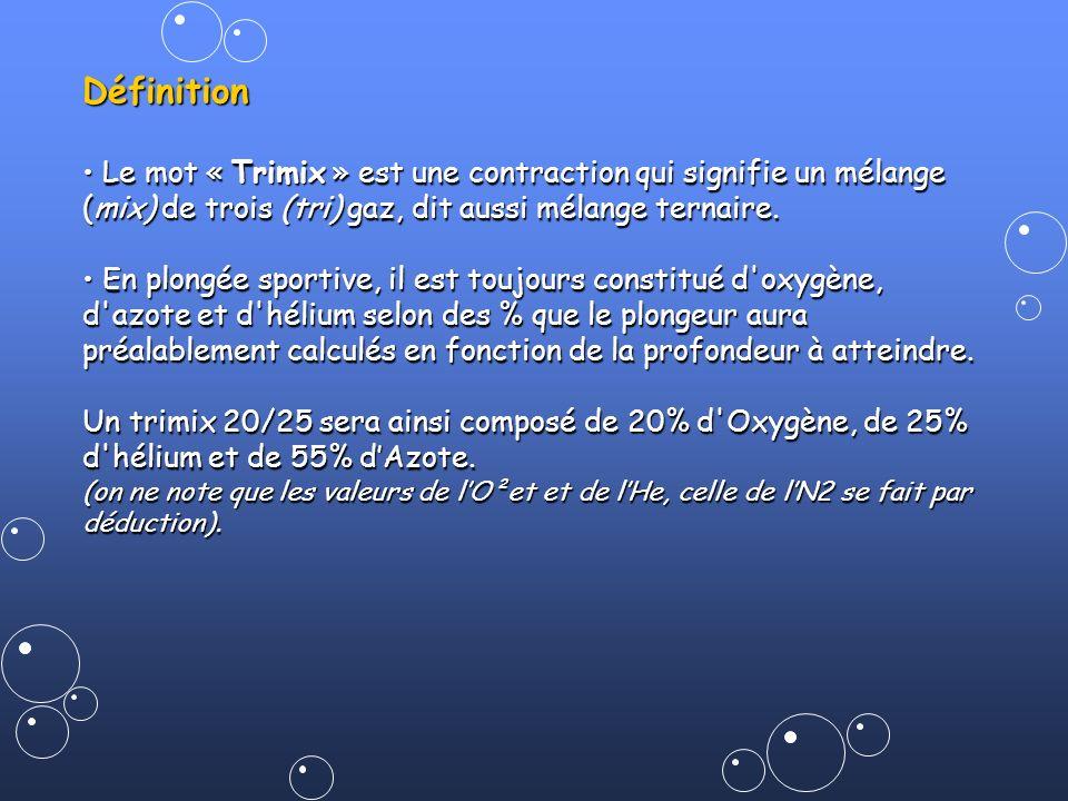Définition Le mot « Trimix » est une contraction qui signifie un mélange (mix) de trois (tri) gaz, dit aussi mélange ternaire. Le mot « Trimix » est u