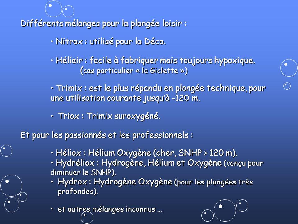 Différents mélanges pour la plongée loisir : Nitrox : utilisé pour la Déco. Nitrox : utilisé pour la Déco. Héliair : facile à fabriquer mais toujours