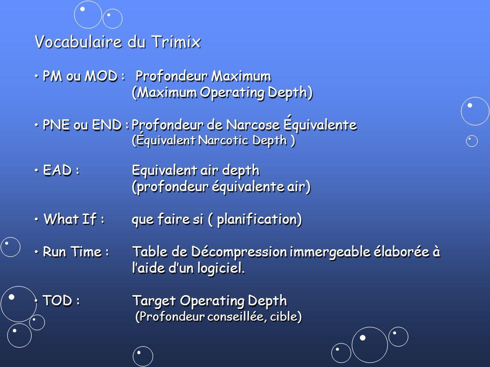 Vocabulaire du Trimix PM ou MOD : Profondeur Maximum PM ou MOD : Profondeur Maximum (Maximum Operating Depth) PNE ou END :Profondeur de Narcose Équiva
