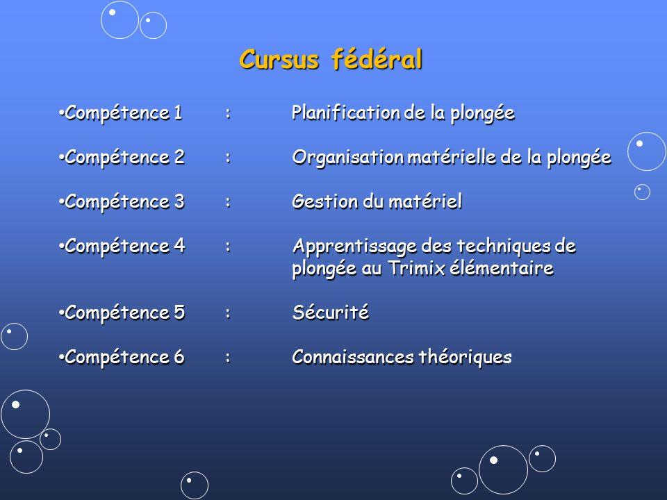 Cursus fédéral Compétence 1:Planification de la plongée Compétence 1:Planification de la plongée Compétence 2:Organisation matérielle de la plongée Co