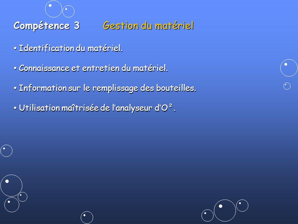 Compétence 3Gestion du matériel Identification du matériel. Identification du matériel. Connaissance et entretien du matériel. Connaissance et entreti