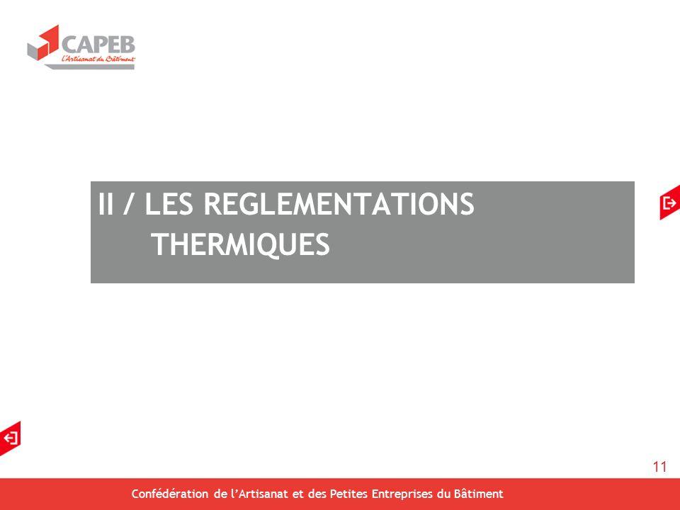 11 Confédération de lArtisanat et des Petites Entreprises du Bâtiment II / LES REGLEMENTATIONS THERMIQUES
