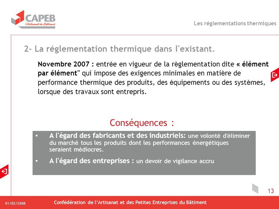 01/02/2008 Confédération de lArtisanat et des Petites Entreprises du Bâtiment 13 2- La réglementation thermique dans l'existant. Novembre 2007 : entr