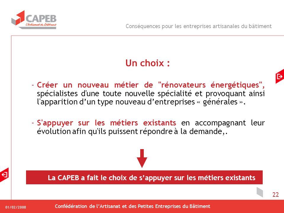 01/02/2008 Confédération de lArtisanat et des Petites Entreprises du Bâtiment 22 Un choix : -Créer un nouveau métier de