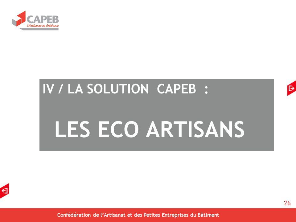 26 Confédération de lArtisanat et des Petites Entreprises du Bâtiment IV / LA SOLUTION CAPEB : LES ECO ARTISANS