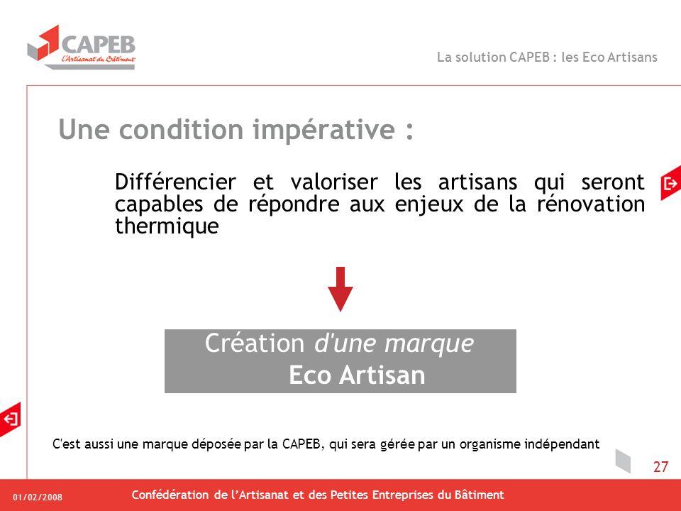 01/02/2008 Confédération de lArtisanat et des Petites Entreprises du Bâtiment 27 Une condition impérative : Différencier et valoriser les artisans qui