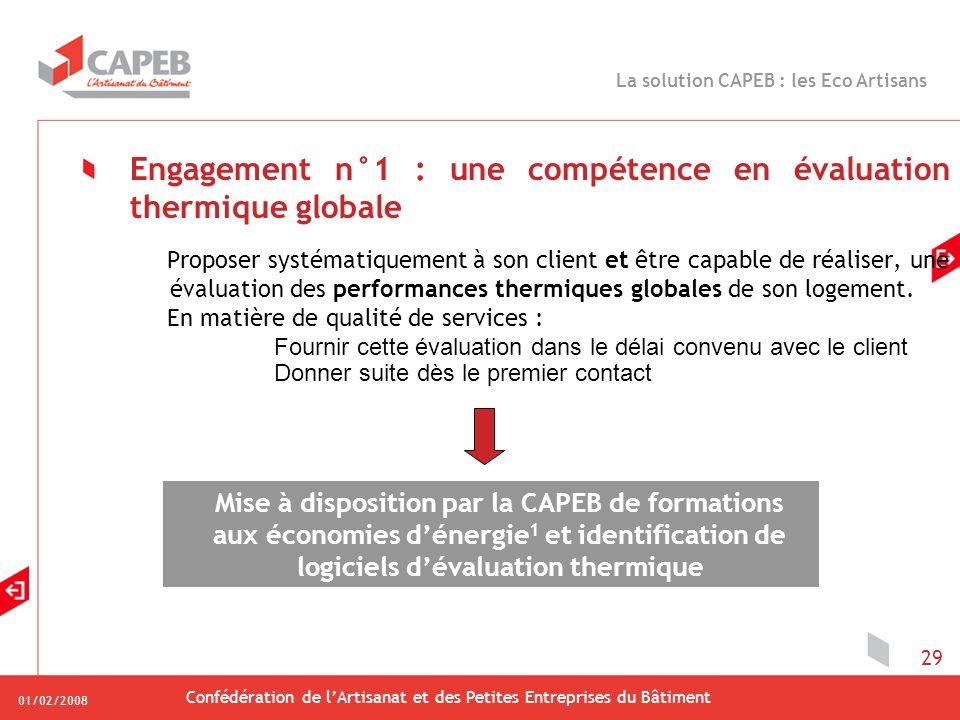 01/02/2008 Confédération de lArtisanat et des Petites Entreprises du Bâtiment 29 Engagement n°1 : une compétence en évaluation thermique globale Propo