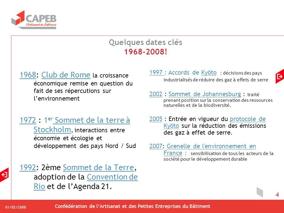 01/02/2008 Confédération de lArtisanat et des Petites Entreprises du Bâtiment 4 Quelques dates clés 1968-2008.