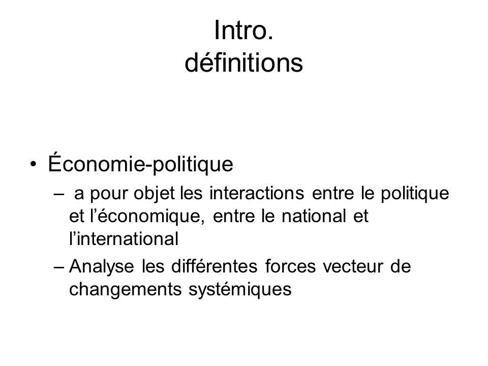 Intro. définitions Économie-politique – a pour objet les interactions entre le politique et léconomique, entre le national et linternational –Analyse