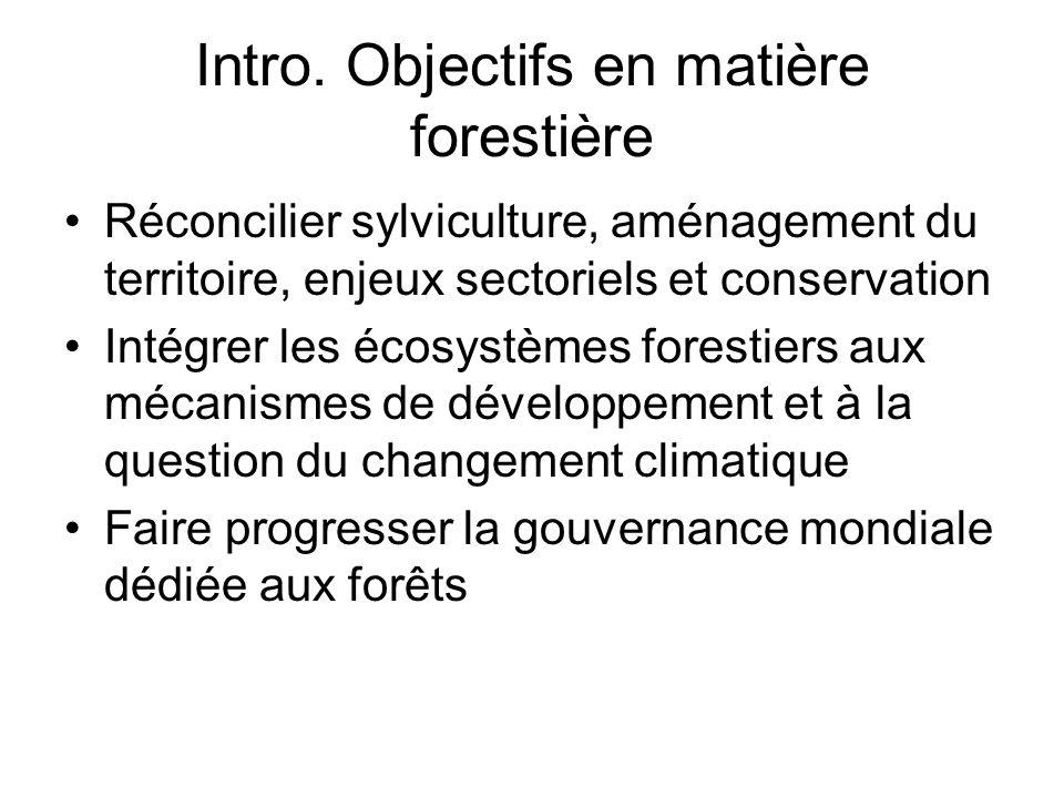 Intro. Objectifs en matière forestière Réconcilier sylviculture, aménagement du territoire, enjeux sectoriels et conservation Intégrer les écosystèmes