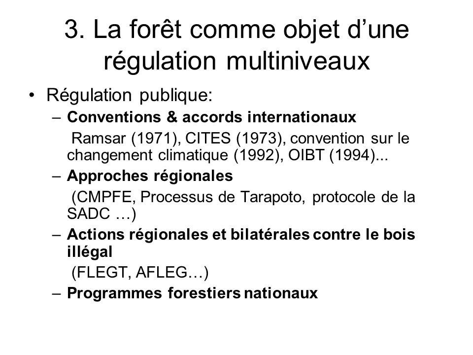 3. La forêt comme objet dune régulation multiniveaux Régulation publique: –Conventions & accords internationaux Ramsar (1971), CITES (1973), conventio