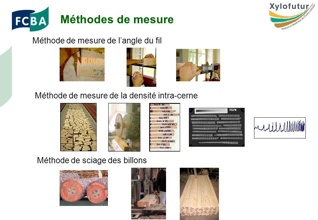 Rencontre Thèses des bois - Bordeaux - 30/01/2009 Page 11 Méthode de mesure de langle du fil Méthode de mesure de la densité intra-cerne Méthode de sciage des billons Méthodes de mesure