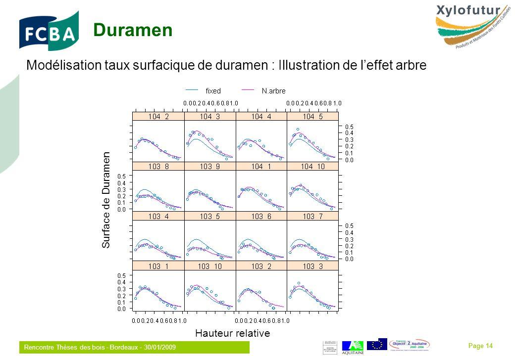 Rencontre Thèses des bois - Bordeaux - 30/01/2009 Page 14 Modélisation taux surfacique de duramen : Illustration de leffet arbre Hauteur relative Surface de Duramen Duramen