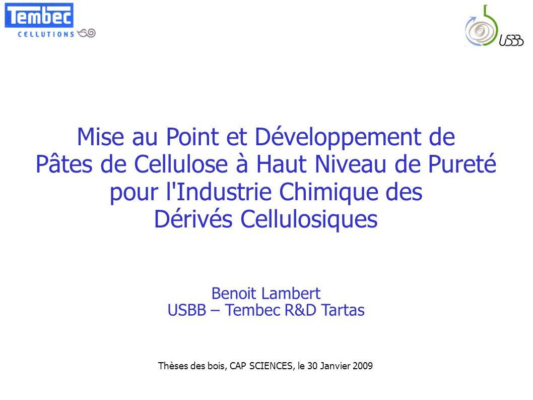 Mise au Point et Développement de Pâtes de Cellulose à Haut Niveau de Pureté pour l'Industrie Chimique des Dérivés Cellulosiques Thèses des bois, CAP