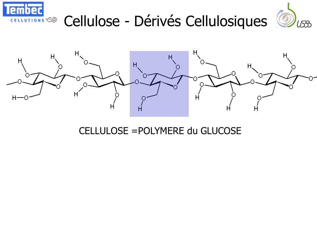 Cellulose - Dérivés Cellulosiques CELLULOSE =POLYMERE du GLUCOSE