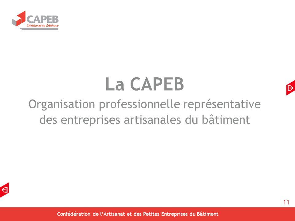 11 Confédération de lArtisanat et des Petites Entreprises du Bâtiment La CAPEB Organisation professionnelle représentative des entreprises artisanales