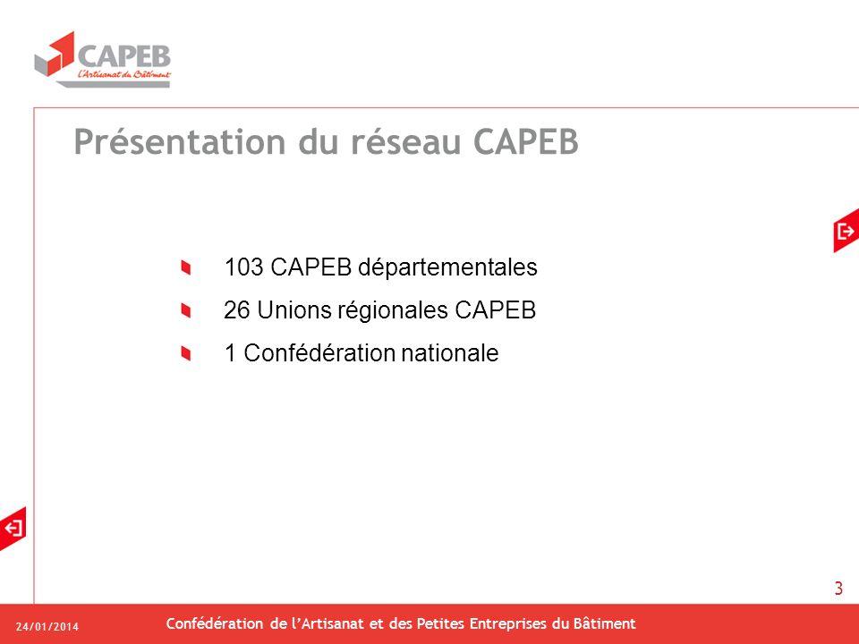 24/01/2014 Confédération de lArtisanat et des Petites Entreprises du Bâtiment 3 Présentation du réseau CAPEB 103 CAPEB départementales 26 Unions régio