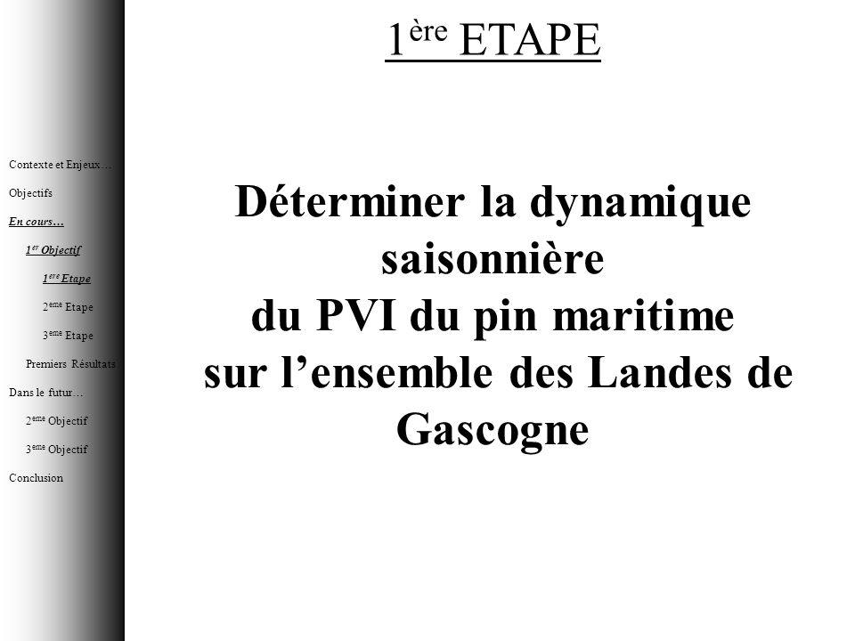 1 ère ETAPE Déterminer la dynamique saisonnière du PVI du pin maritime sur lensemble des Landes de Gascogne Contexte et Enjeux… Objectifs En cours… 1