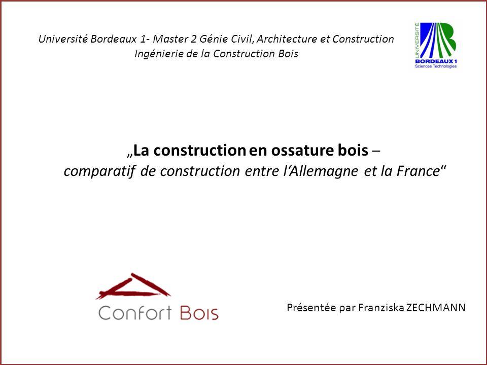 La construction en ossature bois – comparatif de construction entre lAllemagne et la France Présentée par Franziska ZECHMANN Université Bordeaux 1- Ma