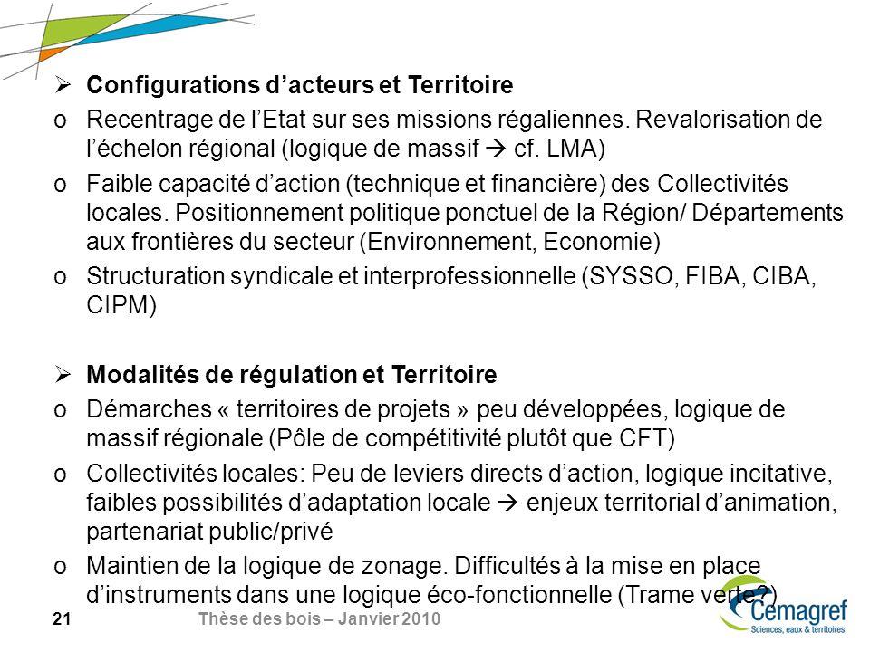 21 Thèse des bois – Janvier 2010 Configurations dacteurs et Territoire oRecentrage de lEtat sur ses missions régaliennes.