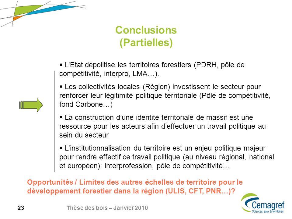 23 Thèse des bois – Janvier 2010 Conclusions (Partielles) LEtat dépolitise les territoires forestiers (PDRH, pôle de compétitivité, interpro, LMA…).