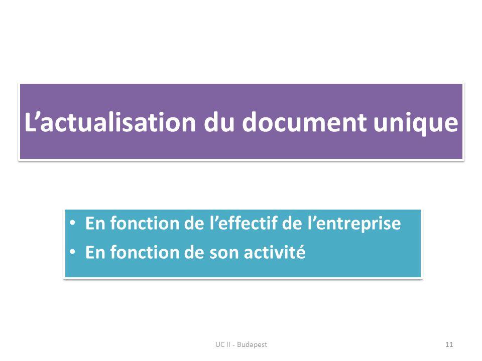 Lactualisation du document unique En fonction de leffectif de lentreprise En fonction de son activité En fonction de leffectif de lentreprise En fonction de son activité UC II - Budapest11