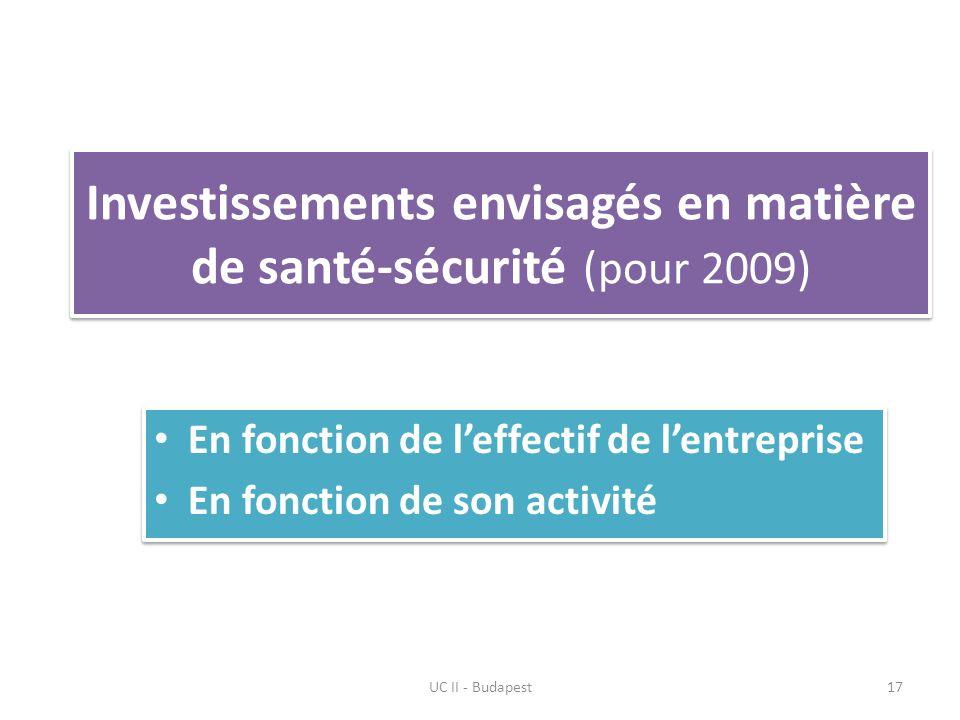 Investissements envisagés en matière de santé-sécurité (pour 2009) UC II - Budapest17 En fonction de leffectif de lentreprise En fonction de son activité En fonction de leffectif de lentreprise En fonction de son activité