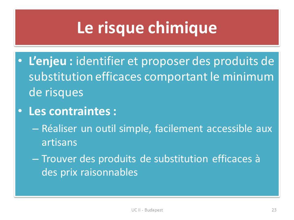 Le risque chimique Lenjeu : identifier et proposer des produits de substitution efficaces comportant le minimum de risques Les contraintes : – Réalise