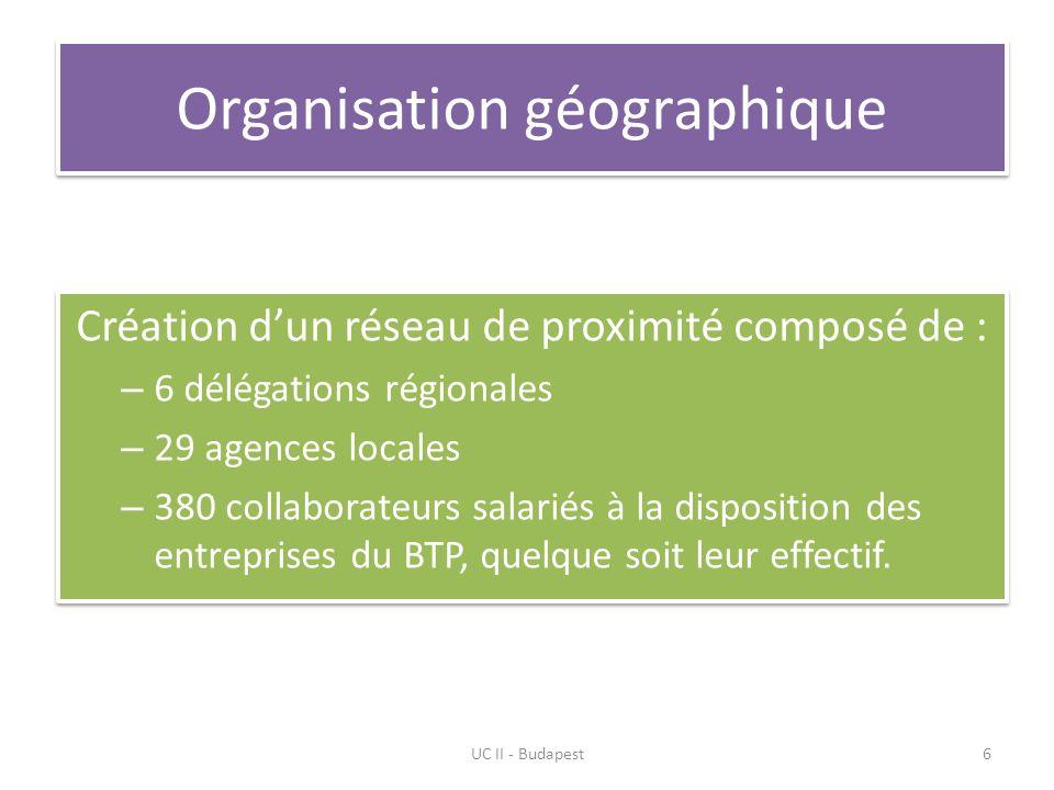 Organisation géographique Création dun réseau de proximité composé de : – 6 délégations régionales – 29 agences locales – 380 collaborateurs salariés à la disposition des entreprises du BTP, quelque soit leur effectif.