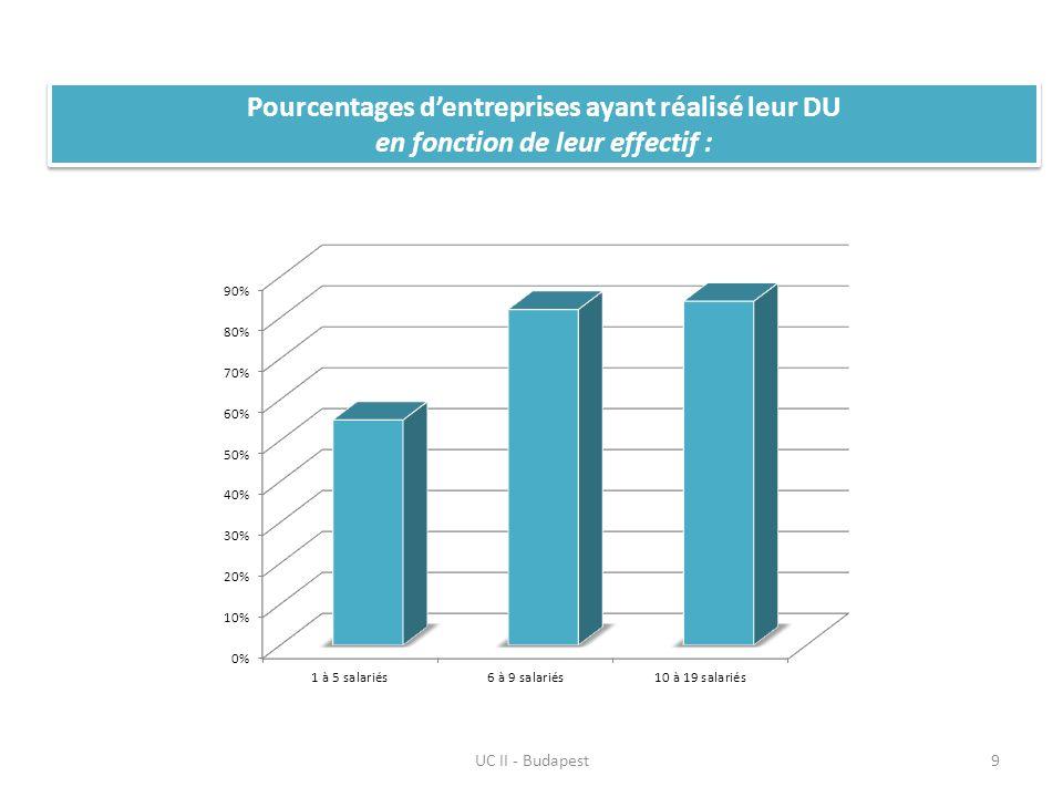 Pourcentages dentreprises ayant réalisé leur DU en fonction de leur activité UC II - Budapest10