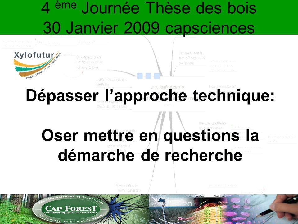 4 ème Journée Thèse des bois 30 Janvier 2009 capsciences Dépasser lapproche technique: Oser mettre en questions la démarche de recherche