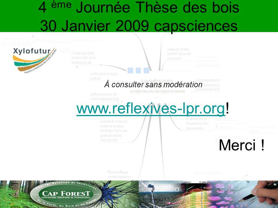 4 ème Journée Thèse des bois 30 Janvier 2009 capsciences À consulter sans modération www.reflexives-lpr.orgwww.reflexives-lpr.org.