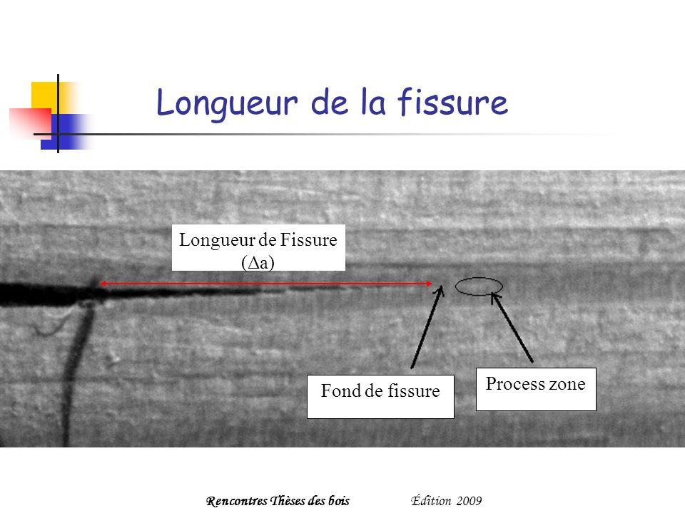 Longueur de la fissure Fond de fissure Process zone Longueur de Fissure (Δa) Rencontres Thèses des boisÉdition 2009