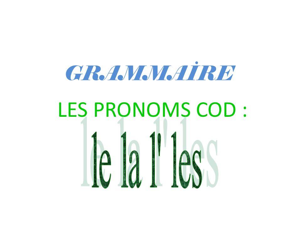 GRAMMAİRE LES PRONOMS COD :