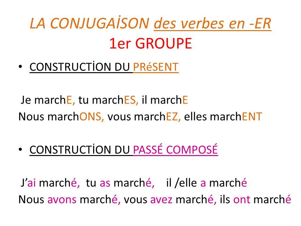 LA CONJUGAİSON des verbes en -ER 1er GROUPE CONSTRUCTİON DU PRéSENT Je marchE, tu marchES, il marchE Nous marchONS, vous marchEZ, elles marchENT CONST