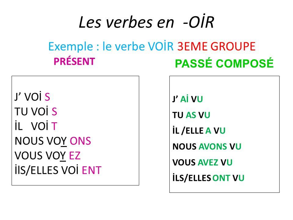 Les verbes en -OİR J VOİ S TU VOİ S İL VOİ T NOUS VOY ONS VOUS VOY EZ İlS/ELLES VOİ ENT J Aİ VU TU AS VU İL /ELLE A VU NOUS AVONS VU VOUS AVEZ VU İLS/