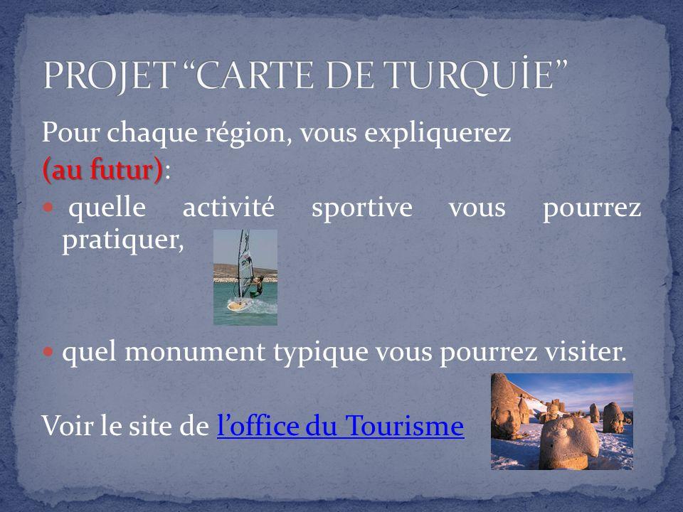 Pour chaque région, vous expliquerez (au futur) (au futur): quelle activité sportive vous pourrez pratiquer, quel monument typique vous pourrez visiter.