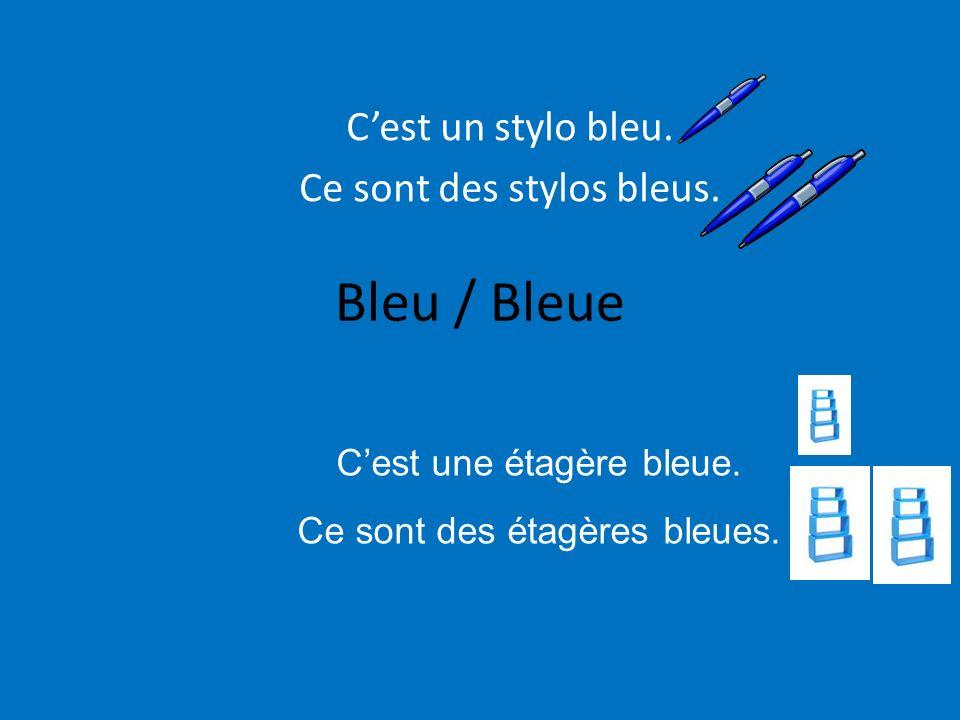 Bleu / Bleue Cest un stylo bleu. Ce sont des stylos bleus. Cest une étagère bleue. Ce sont des étagères bleues.