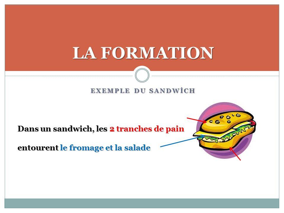 EXEMPLE DU SANDWİCH LA FORMATION Dans un sandwich, les 2 tranches de pain entourent le fromage et la salade
