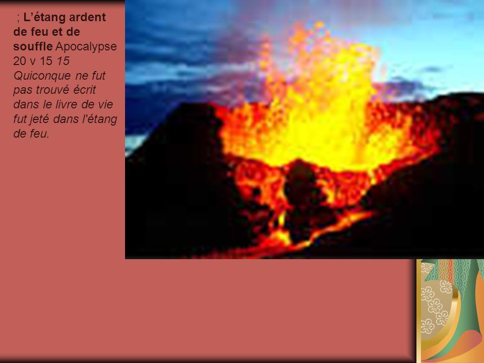 ; Létang ardent de feu et de souffle Apocalypse 20 v 15 15 Quiconque ne fut pas trouvé écrit dans le livre de vie fut jeté dans l'étang de feu.
