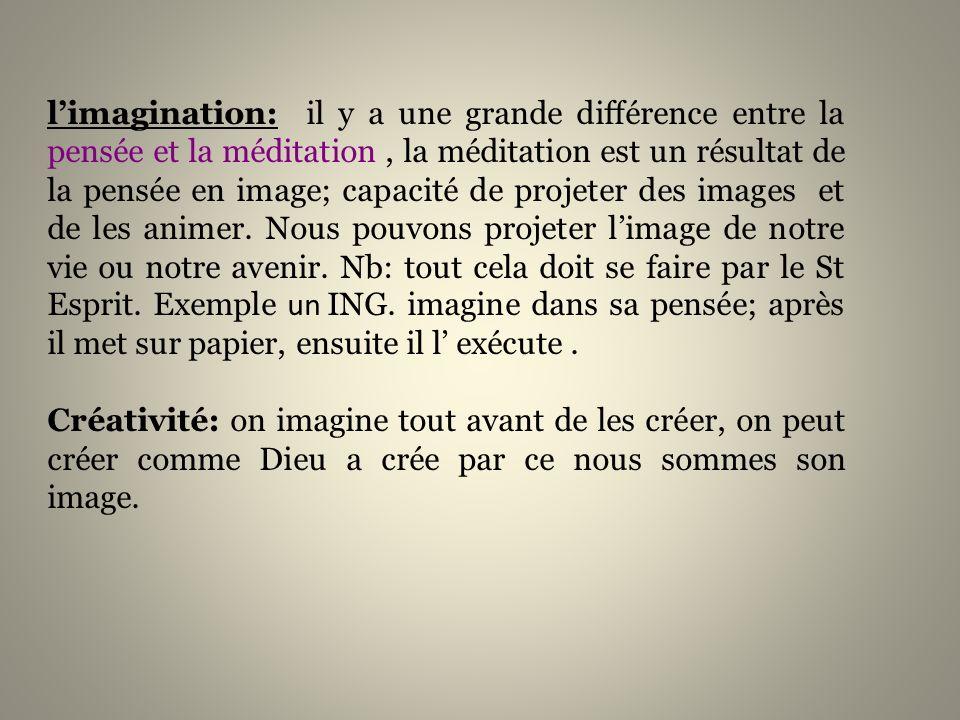 limagination: il y a une grande différence entre la pensée et la méditation, la méditation est un résultat de la pensée en image; capacité de projeter