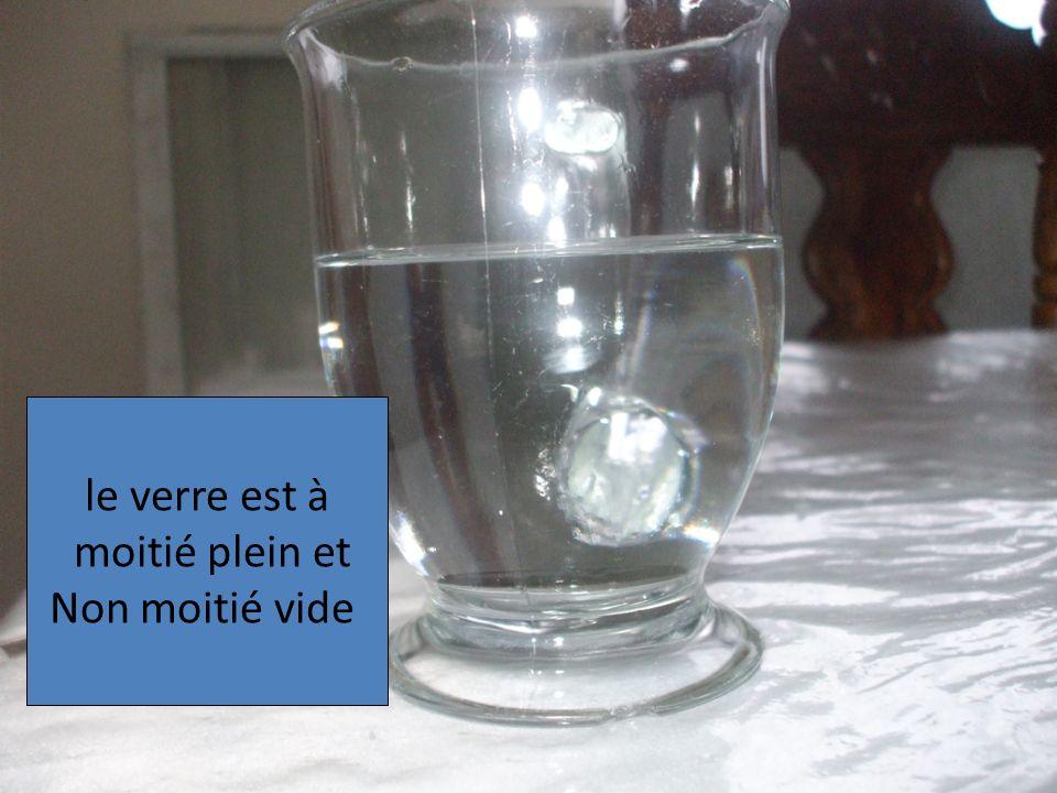 le verre est à moitié plein et Non moitié vide